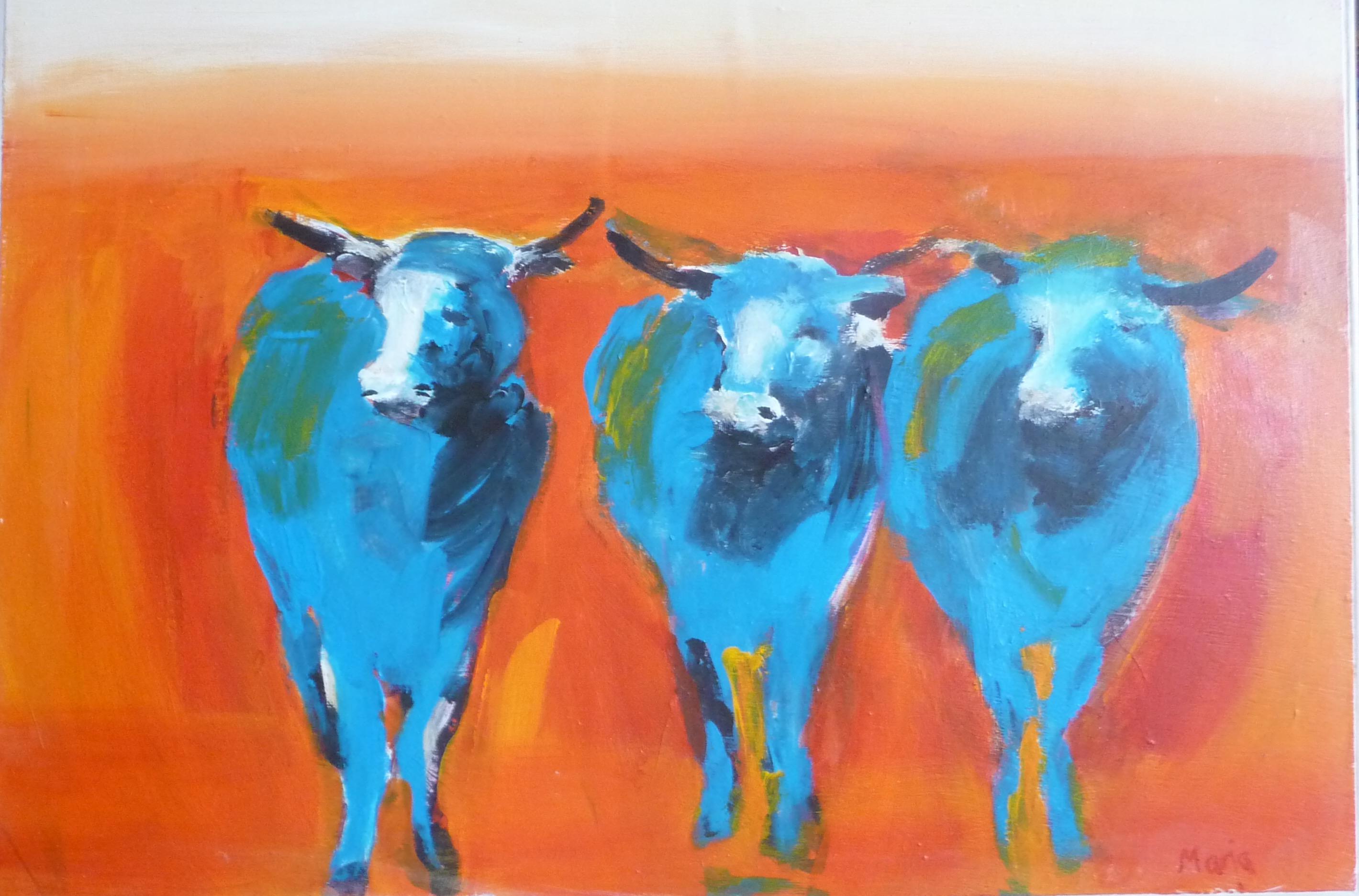 Schilderij ossen painting oxes. Colourful. Expressionist buddhist zen boeddhistisch expressionistisch