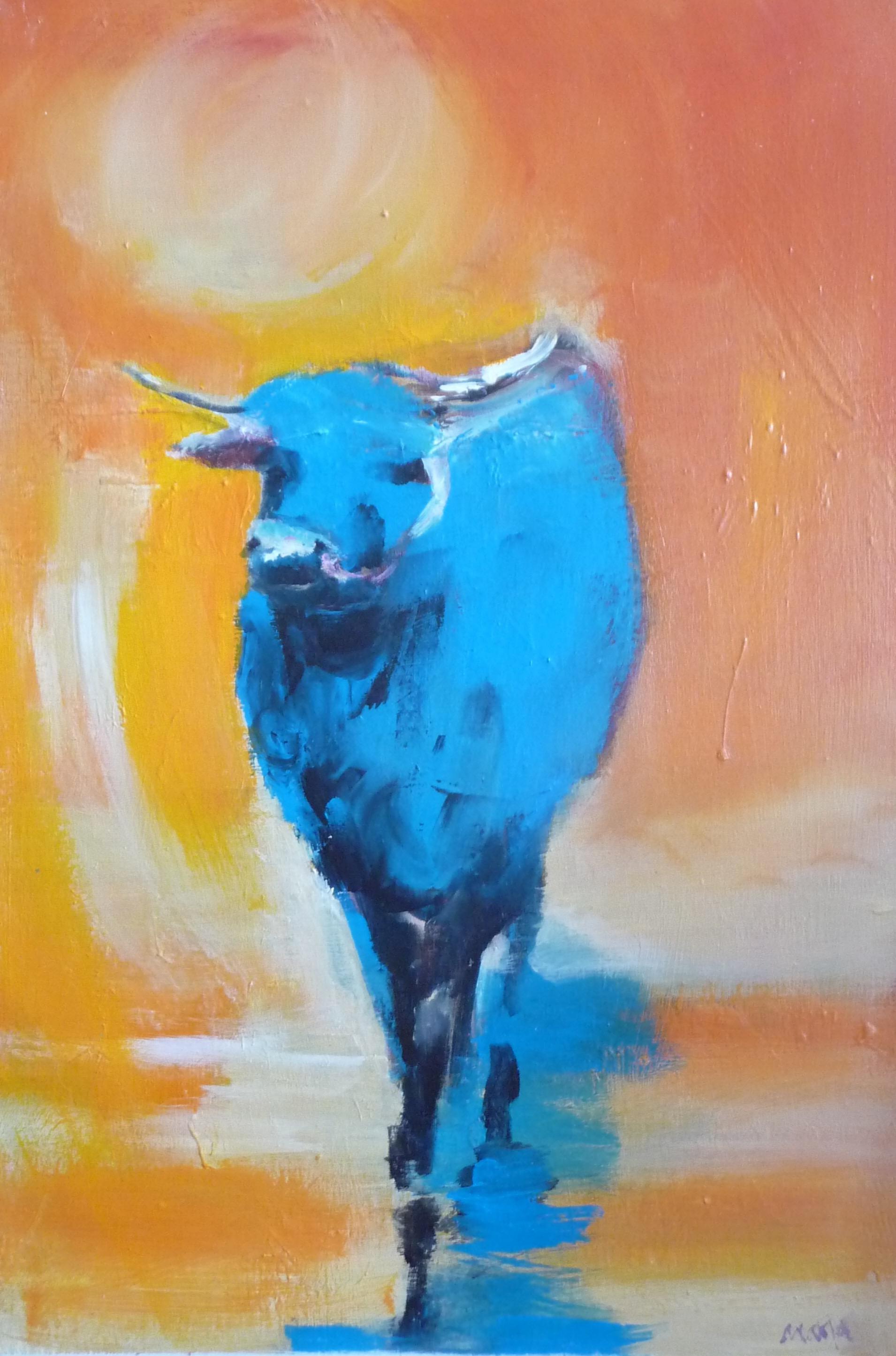 Schilderij painting, Een os geschilderd in heldere kleuren, blauw geel, rood/. Oranje vriendelijke, zonnig. ox zen boeddhisme colorful kleurrijk
